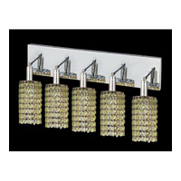 Elegant Lighting Mini 5 Light Vanity in Chrome with Swarovski Strass Light Peridot Crystal 1285W-O-R-LP/SS