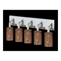 Elegant Lighting Mini 5 Light Vanity in Chrome with Swarovski Strass Topaz Crystal 1285W-O-R-TO/SS