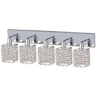 Mini 5 Light 34 inch Chrome Vanity Wall Light in Clear, Royal Cut, Square