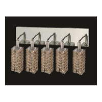 Elegant Lighting Mini 5 Light Vanity in Chrome with Royal Cut Golden Teak Crystal 1285W-O-S-GT/RC