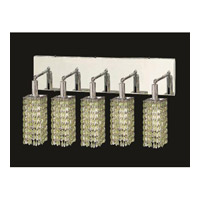 Elegant Lighting Mini 5 Light Vanity in Chrome with Royal Cut Light Peridot Crystal 1285W-O-S-LP/RC