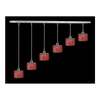 Elegant Lighting Mini 6 Light Pendant in Chrome with Royal Cut Bordeaux Crystal 1286D-O-E-BO/RC