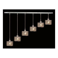 Elegant Lighting Mini 6 Light Pendant in Chrome with Royal Cut Golden Teak Crystal 1286D-O-E-GT/RC