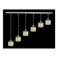 Elegant Lighting Mini 6 Light Pendant in Chrome with Swarovski Strass Light Peridot Crystal 1286D-O-E-LP/SS