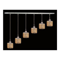 Elegant Lighting Mini 6 Light Pendant in Chrome with Royal Cut Light Topaz Crystal 1286D-O-E-LT/RC