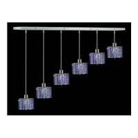 Elegant Lighting Mini 6 Light Pendant in Chrome with Royal Cut Sapphire Crystal 1286D-O-E-SA/RC