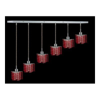Elegant Lighting Mini 6 Light Pendant in Chrome with Royal Cut Bordeaux Crystal 1286D-O-P-BO/RC