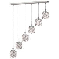 Elegant Lighting Mini 6 Light Pendant in Chrome with Royal Cut Clear Crystal 1286D-O-P-CL/RC