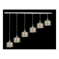 Elegant Lighting Mini 6 Light Pendant in Chrome with Royal Cut Golden Teak Crystal 1286D-O-P-GT/RC