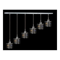 Elegant Lighting Mini 6 Light Pendant in Chrome with Royal Cut Jet Black Crystal 1286D-O-P-JT/RC
