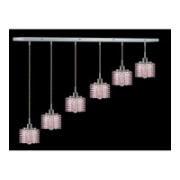 Elegant Lighting Mini 6 Light Pendant in Chrome with Royal Cut Rosaline Crystal 1286D-O-P-RO/RC