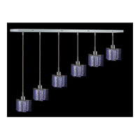 Elegant Lighting Mini 6 Light Pendant in Chrome with Swarovski Strass Sapphire Crystal 1286D-O-P-SA/SS