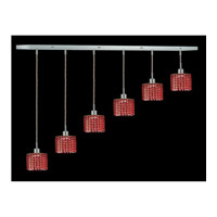 Elegant Lighting Mini 6 Light Pendant in Chrome with Royal Cut Bordeaux Crystal 1286D-O-R-BO/RC