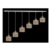 Elegant Lighting Mini 6 Light Pendant in Chrome with Swarovski Strass Golden Teak Crystal 1286D-O-R-GT/SS