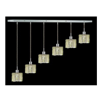 Elegant Lighting Mini 6 Light Pendant in Chrome with Royal Cut Light Peridot Crystal 1286D-O-R-LP/RC