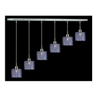 Elegant Lighting Mini 6 Light Pendant in Chrome with Royal Cut Sapphire Crystal 1286D-O-R-SA/RC
