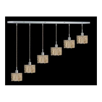 Elegant Lighting Mini 6 Light Pendant in Chrome with Swarovski Strass Golden Teak Crystal 1286D-O-S-GT/SS