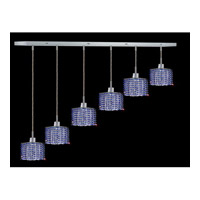 Elegant Lighting Mini 6 Light Pendant in Chrome with Royal Cut Sapphire Crystal 1286D-O-S-SA/RC