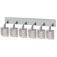 Mini 6 Light 40 inch Chrome Vanity Wall Light in Clear, Elegant Cut, Ellipse