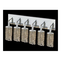 Elegant Lighting Mini 6 Light Vanity in Chrome with Swarovski Strass Golden Teak Crystal 1286W-O-E-GT/SS