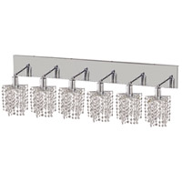 Mini 6 Light 40 inch Chrome Vanity Wall Light in Clear, Elegant Cut, Star