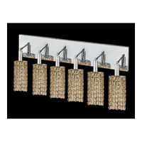 Elegant Lighting Mini 6 Light Vanity in Chrome with Swarovski Strass Golden Teak Crystal 1286W-O-R-GT/SS