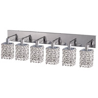 Mini 6 Light 40 inch Chrome Vanity Wall Light in Clear, Elegant Cut, Square
