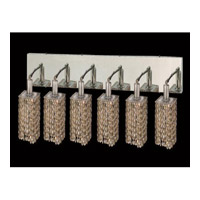 Elegant Lighting Mini 6 Light Vanity in Chrome with Swarovski Strass Golden Teak Crystal 1286W-O-S-GT/SS