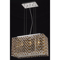Elegant Lighting Moda 3 Light Dining Chandelier in Chrome with Swarovski Strass Topaz Crystal 1291D18C-TO/SS