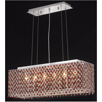 Elegant Lighting Moda 6 Light Dining Chandelier in Chrome with Swarovski Strass Bordeaux Crystal 1291D32C-BO/SS