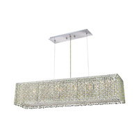 Elegant Lighting Moda 6 Light Dining Chandelier in Chrome with Swarovski Strass Light Peridot Crystal 1291D32C-LP/SS