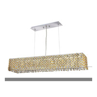 Elegant Lighting Moda 6 Light Dining Chandelier in Chrome with Royal Cut Light Topaz Crystal 1291D32C-LT/RC