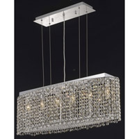 Elegant Lighting Moda 6 Light Dining Chandelier in Chrome with Swarovski Strass Golden Teak Crystal 1292D32C-GT/SS