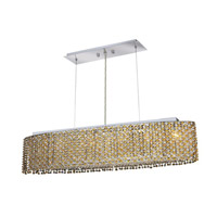Elegant Lighting Moda 6 Light Dining Chandelier in Chrome with Royal Cut Light Topaz Crystal 1292D32C-LT/RC