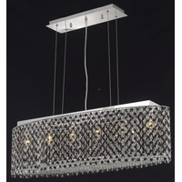 Elegant Lighting Moda 6 Light Dining Chandelier in Chrome with Swarovski Strass Jet Black Crystal 1292D38C-JT/SS