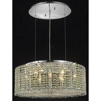 Elegant Lighting Moda 9 Light Dining Chandelier in Chrome with Swarovski Strass Golden Teak Crystal 1293D26C-GT/SS