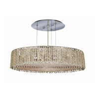 Elegant Lighting Moda 9 Light Dining Chandelier in Chrome with Royal Cut Light Peridot Crystal 1293D26C-LP/RC