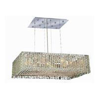 Elegant Lighting Moda 9 Light Dining Chandelier in Chrome with Royal Cut Light Peridot Crystal 1294D22C-LP/RC