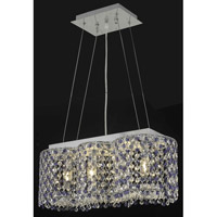 Elegant Lighting Moda 4 Light Dining Chandelier in Chrome with Swarovski Strass Sapphire Crystal 1295D20C-SA/SS