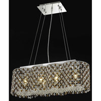 Elegant Lighting Moda 4 Light Dining Chandelier in Chrome with Swarovski Strass Topaz Crystal 1295D24C-TO/SS