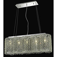 Elegant Lighting Moda 5 Light Dining Chandelier in Chrome with Swarovski Strass Light Peridot Crystal 1295D32C-LP/SS