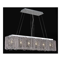 Elegant Lighting Moda 6 Light Dining Chandelier in Chrome with Royal Cut Rosaline Crystal 1295D40C-RO/RC