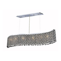 Elegant Lighting Moda 5 Light Dining Chandelier in Chrome with Swarovski Strass Jet Black Crystal 1296D32C-JT/SS