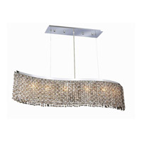 Elegant Lighting Moda 6 Light Dining Chandelier in Chrome with Swarovski Strass Golden Teak Crystal 1296D46C-GT/SS