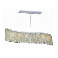 Elegant Lighting Moda 6 Light Dining Chandelier in Chrome with Royal Cut Light Peridot Crystal 1296D46C-LP/RC