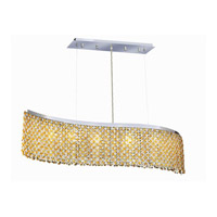 Elegant Lighting Moda 6 Light Dining Chandelier in Chrome with Swarovski Strass Light Topaz Crystal 1296D46C-LT/SS