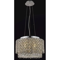 Moda 4 Light 16 inch Chrome Dining Chandelier Ceiling Light in Golden Teak, Swarovski Strass