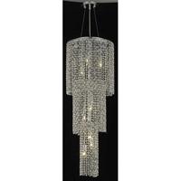 Elegant Lighting Moda 9 Light Foyer in Chrome with Royal Cut Golden Teak Crystal 1298G42C-GT/RC