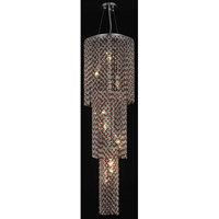 Elegant Lighting Moda 9 Light Foyer in Chrome with Royal Cut Bordeaux Crystal 1298G54C-BO/RC
