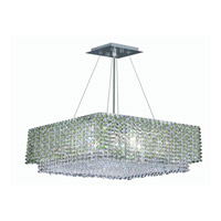 Elegant Lighting Moda 4 Light Dining Chandelier in Chrome with Royal Cut Light Peridot Crystal 1299D16C-LP/RC